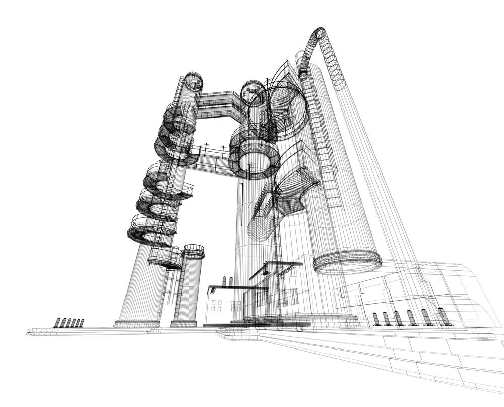Dessin 3D d'une centrale nucléaire